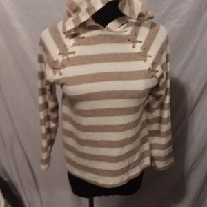 5/$25 Poof Girl tan striped hooded sweater XL